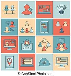 Communication icons set flat line