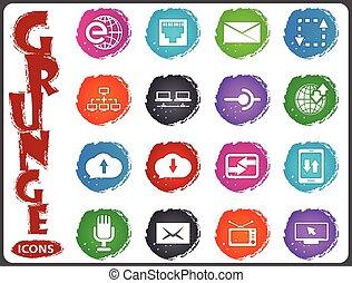 Communication icons set in grunge style