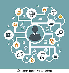communication icons over blue background vector illustration...