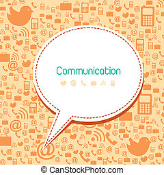 communication icons with balloon text, vintage. vector illustration