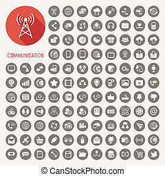 Communication icons with black background , eps10 vector...