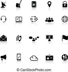 Communication icons with reflect on white background