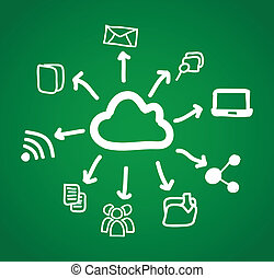 communication signs over green background. vector