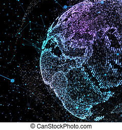 Communication in digital network. Earth Globe. 3d illustration.