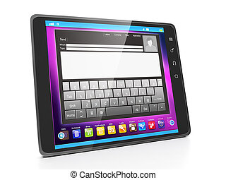 Communication in social networks via tablet. Tablet computer close up on white background