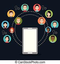 communication, internet, communauté, gens