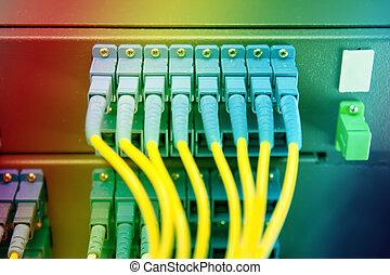 communication, internet, salle, serveur réseau