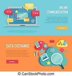 communication ligne, et, données, échange, banners.