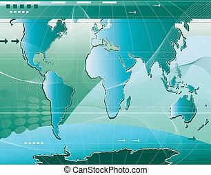 communication;, mappa, mondo, astratto