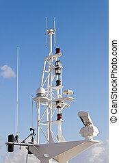Communication mast on ship.