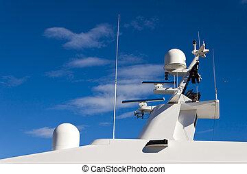Communication mast on yacht.