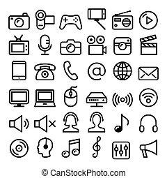 Communication, Media, modern technology web line icon set -...