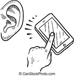 communication mobile, croquis
