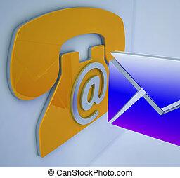 communication mobile, enveloppe, téléphone, ligne, spectacles