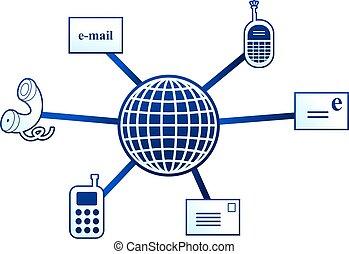 communication molecule - Communication molecule with icons...