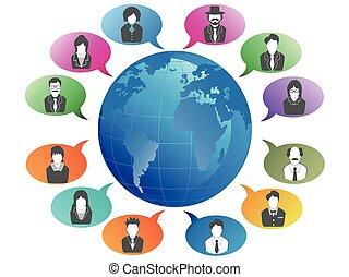 communication, mondiale, autour de, professionnels