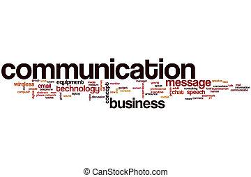 communication, mot, nuage