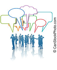 Communication Network Media Business People Talk Colors - A...