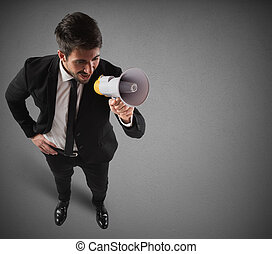 Communication on megaphone - Confident and successful...