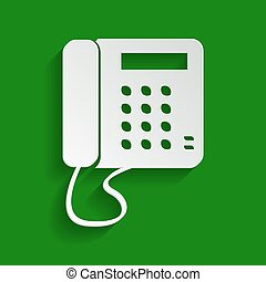 Communication or phone sign. Vector. Paper whitish icon with soft shadow on green background.