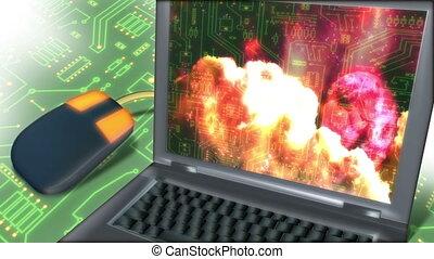 communication, ordinateur portable, -, souris