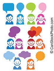 communication people vector icons