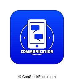 Communication phone icon blue