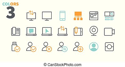 Communication Pixel Perfect Well-crafted Vector Thin Line Icons 48x48 Ready for 24x24 Grid for Web Graphics and Apps with Editable Stroke. Simple Minimal Pictogram Part 2-3