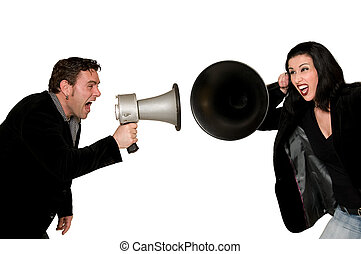 Communication Problems - Man screaming with megaphone at...