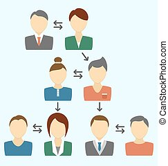Communication process with avatars isolated on blue
