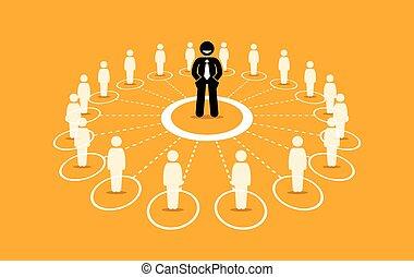 communication., réseau, business