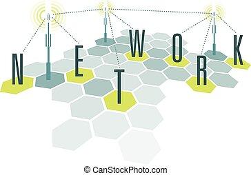 communication, réseau, cellules, à, lettres