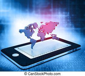 communication, réseau global, intelligent, téléphone