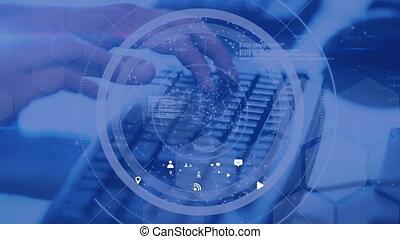 communication, réseau, icônes, fond, clavier ordinateur