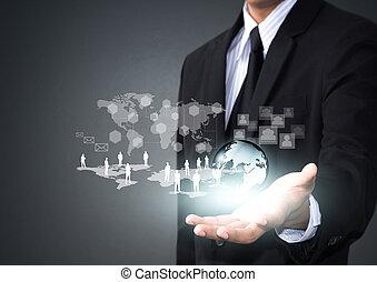 communication, réseau, social