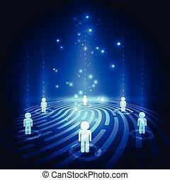communication, résumé, affaires numériques, vecteur, fond, empreinte doigt, technologie