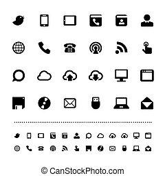 communication, rétine, ensemble, icône