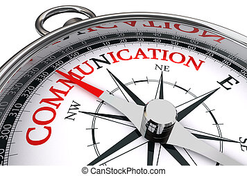 communication red word on conceptual compass isolated on white background