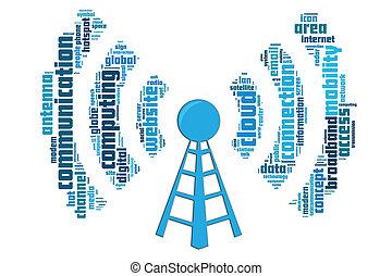 communication sans fil, concept, fait, par, typographie, à,...
