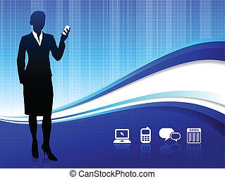 communication sans fil, fond, internet