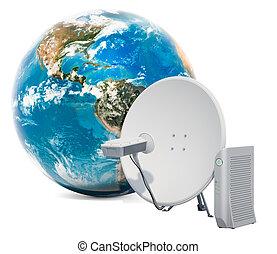 communication satellite, concept., accès global, rendre, modem., internet, plat, 3d