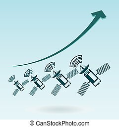Communication satellite icon with solar cells. growth chart