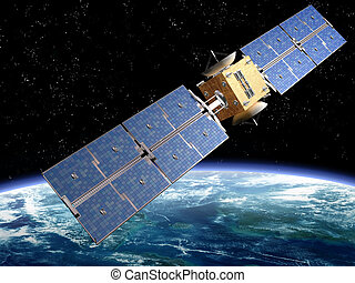 Communication Satellite - Illustration of a satellite ...