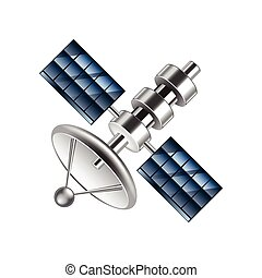 Communication satellite isolated on white vector -...
