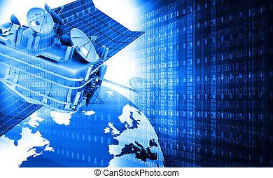 communication, satellite, monde numérique