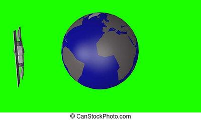 Communication satellite orbit in space against green screen...