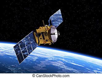 Communication Satellite Orbiting Earth. Realistic 3D Scene.