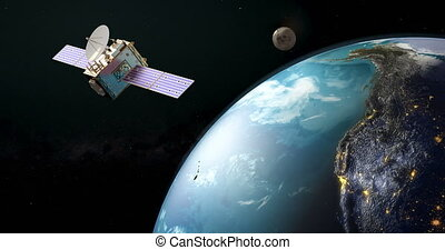 Communication satellite orbiting earth, rotation around the Earth Globe, animation. 3D rendering