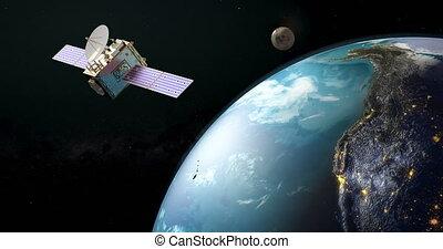 Communication satellite orbiting earth, rotation around the Earth Globe, animation. 3D rendering