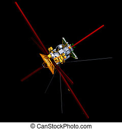 communication satellite - rendering of a space satellite...